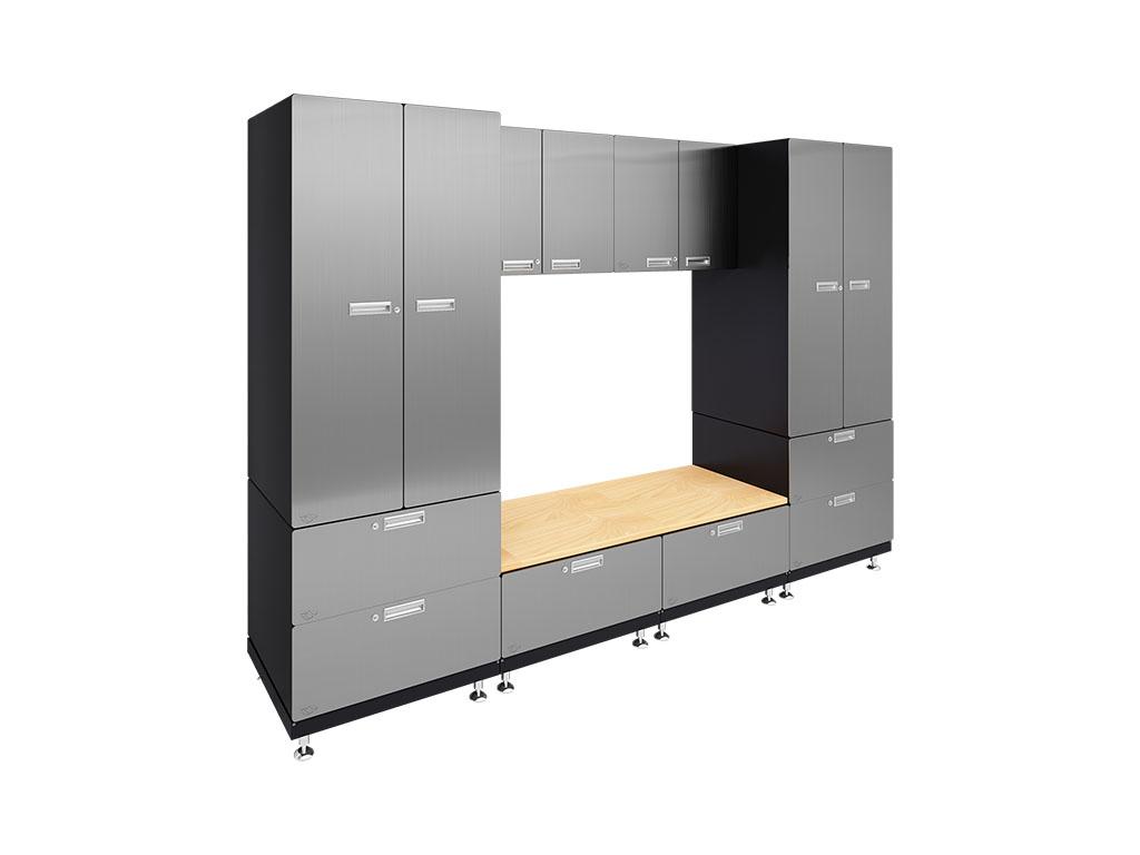Kit 9 Storage Bench Garage Cabinet System 24 D X 120 W 84 H