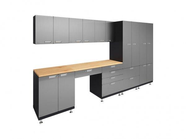 Kit 5 Storage Desk Garage Cabinet System 24 D X 150 W X 84 H