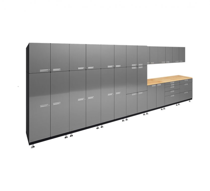 "Kit 2 – Locker Wall Work Center Cabinet System | 24""D x 210""W x 84""H"